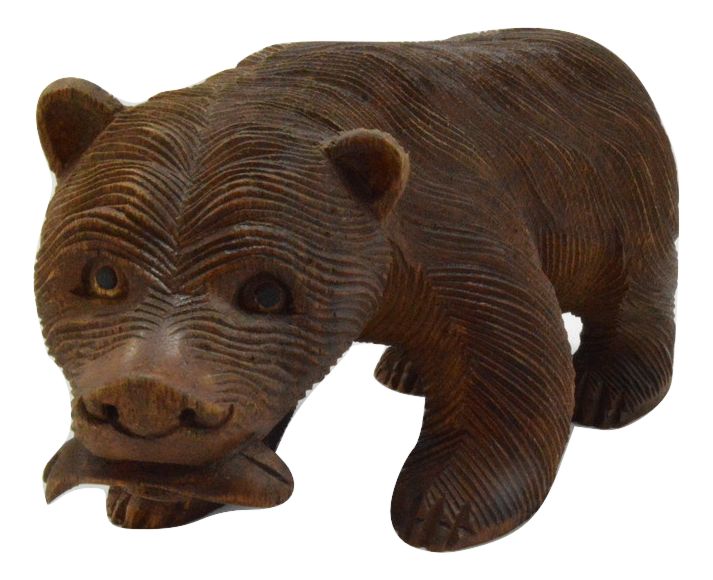 Carved Wooden Bear With Fish Brown Various Sizes