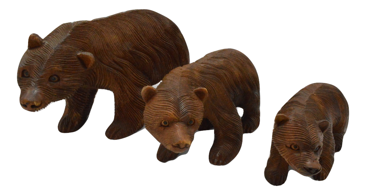 Carved Wooden Bears Brown 15cm