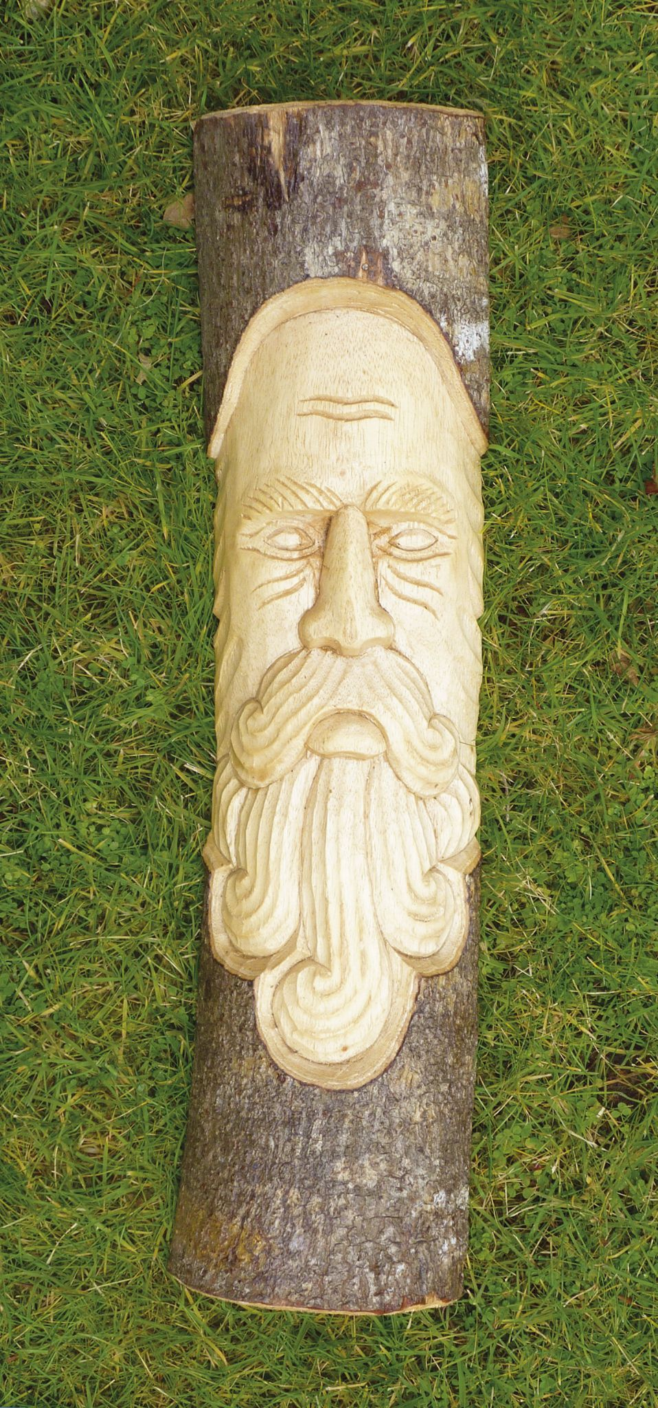 Green Man Log Carving 3 Beard