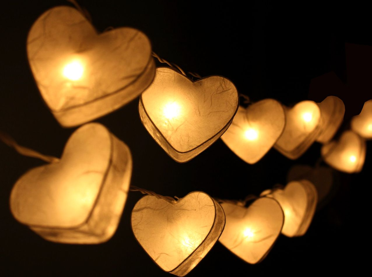 Heart Lantern Fairy Lights White